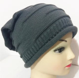 Hombres y mujeres del sombrero de la gorrita tejida del casquillo del acrílico/de las lanas del 100% como el casquillo bordado casquillos hecho punto