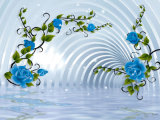 水晶宮殿のインテリア・デザインの油絵の3D青ローズ