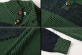 標準的な角製ボタンのタートル・ネックの対照のカラーによって編まれる緑のセーター