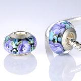 Bijou argenté de talons de faisceau en verre 925 de Murano pour le bracelet