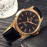 H346 de Hoogwaardige Unieke Horloges van de Mensen van het Kwarts van het Ontwerp van de Schaal van het Horloge Waterdichte