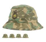 快適な綿のCamo Embの通気性のファブリックバケツの帽子