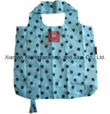 Customized Designer Polka Dots Padrão Reusável Nylon Foldable Shopping Tote Bag