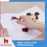 Слой покрытия PU высокого качества, бумага переноса тенниски легкого вырезывания темная для хлопко-бумажная ткани