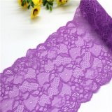 Guarnições elásticas roxas do laço do Voile para vestuários e roupa interior