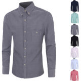 2016 camisas de alineada ocasional delgadas del ajuste de la funda de los hombres del bolsillo largo del pecho (A428)