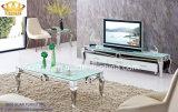 ステンレス鋼の現代コーヒーテーブル、ガラスコーヒーテーブル