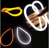 Venda 2016 quente! ! ! 12V lâmpada Running Daytime flexível da luz de tira do diodo emissor de luz do carro de 60cm/de 80cm com luz dupla branca/do amarelo cor do anjo do olho