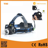 400lm 크리 말 Xm-L T6 Telescopic Zoom Headlamp (POPPAS-T90)