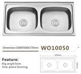 Bacia Wo10050 do dobro do dissipador de cozinha do aço inoxidável