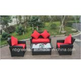 Sofá de vime do Rattan da mobília ajustado para o jardim com frame de alumínio