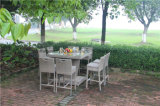 Giardino esterno Rattan Wicker Big Bar Table e Chair