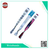 Ereignis Polyester Woven Wristband mit Hard PVC Label, Printing Different Qr Code oder Barcode