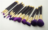 Alta qualità 15PCS Synthetic Hair Black e Purple Professional Makeup Brush Set
