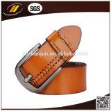 Correia genuína dos homens da forma da correia de couro com curvatura do Pin (HJ3001)
