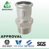Top Quality Inox Plumbing Sanitario Acero Inoxidable 304 316 Prensa Fitting Corner Connector Tubo de agua suave Thread Sleeve
