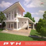 Wohler Entwurf und schnelles aufgebautes helles Stahlvorfabriziertlandhaus