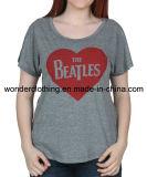 T-shirt en gros chaud de fille de coton fait sur commande d'impression de la mode des femmes