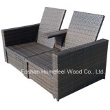 Outsunny Outdoor 3 피스 Wicker 안뜰 Love Seat Lounge Chair Set