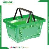 cestino di acquisto di plastica della maniglia del doppio 32L per il supermercato
