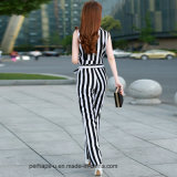 Stripe Printingの熱いSell Womens Chiffon Sleeveless Jumpsuit