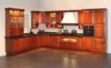 Gabinete de cozinha clássico personalizado profissional da madeira contínua