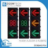 방향 신호등 빨간 황록색 LED 화살 신호등과 2 디지털 카운트다운 타이머