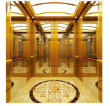 Luxury Golden Mirror Stainless Steel Passenger Elevator Lift Cabin