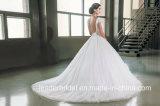 帽子はサテンのコルセットのテュルのウェディングドレスG17285に玉を付ける花嫁の夜会服にスリーブを付ける
