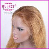 금발 색깔 똑바른 Virgin 브라질 머리 레이스 가발 정면 레이스 가발