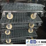 Jaula de la paleta del acoplamiento de alambre de acero para el almacenaje del almacén con la paleta de madera