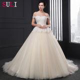 A - linha fora dos vestidos de casamento frisados do laço do ombro (SL033)