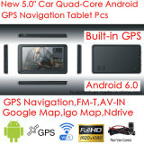 5.0inch tablette capacitive neuve PCS avec le navigateur du tableau de bord GPS de véhicule de l'androïde 6.0, WiFi ; Navigation de GPS ; Poids du commerce-dans pour l'appareil-photo arrière de stationnement ; Carte G-5040 de Google GPS