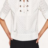 Damas de moda manga corta camiseta Blusa de vendaje hueco