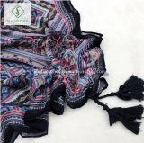 Шаль ретро типа ED печати фольклорного геометрическая с шарфом способа Tassel