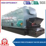 La pallina della biomassa ha infornato la caldaia impaccata con il timpano del vapore