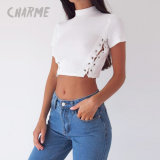 Ladies Fashion Sexy Side Lace-up T-Shirt Blouse