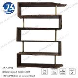 Полка книги черного грецкого ореха деревянная с бронзовой рамкой нержавеющей стали