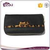 Бумажник застежки -молнии PU черного цвета двойной для женщин, тенденций Handmade портмон новых