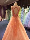 Korallenrotes rosafarbenes Abend-Kleid für Wedding mit Schlüsselloch-Rückseite