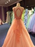 Vestido de noite cor-de-rosa coral para Wedding com parte traseira do buraco da fechadura