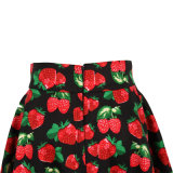 En stock Strawberry Print Large Pendulum Length Party Jupes pour femmes