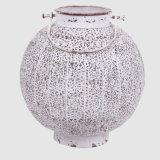 Lanterna rotonda della candela del metallo bianco