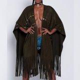 Form-Frauen-Freizeit-beiläufiges Troddel-Verband-Kap-Kleid