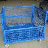 スタック可能鋼線の網の金属の容器の大箱を折る倉庫の記憶