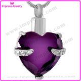 Le collier pendant d'incinération en acier en cristal de Srainless du coeur Ijd8072 incinère la fourche de support de souvenir plaçant le charme commémoratif