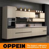 Gabinete de cozinha de madeira da melamina moderna de Oppein (OP16-074)
