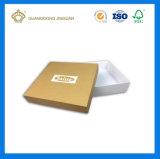 Rectángulo de regalo de papel de lujo de la cartulina de la pieza inserta del paño del satén (con la hoja de la insignia)