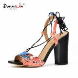 Chaussures de santals de talons hauts de femmes de Madame Casual Snake Pattern Lace-up