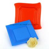 Placa quadrada plástica do verde descartável da cor dos doces do picosegundo do plástico